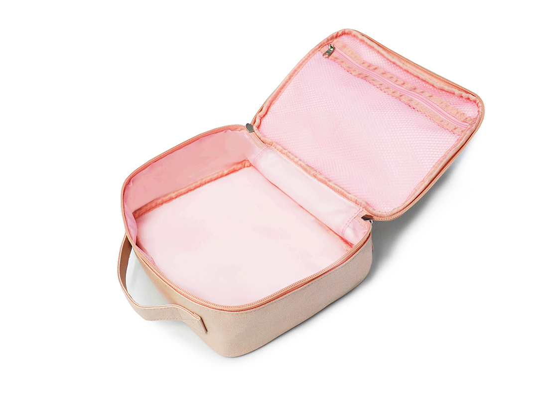 sparkly cosmetic bag - 20012-pink open