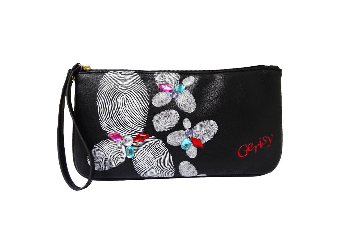 Zipper Long Black pouch with Finger Print Printing