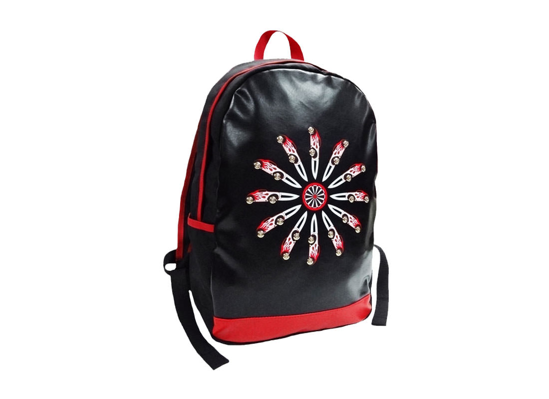 Black PU Leather Backpack with Car & Knife Printed
