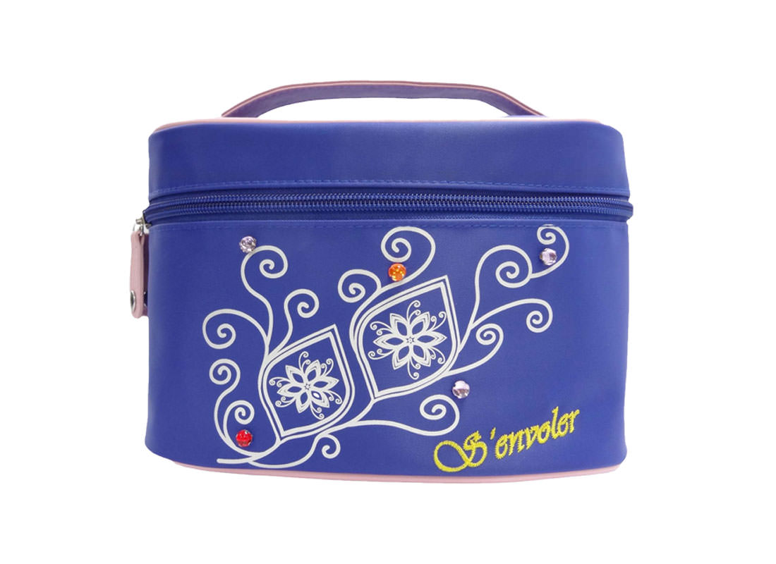 Cosmetic Bag with mirror in blue with flower printing