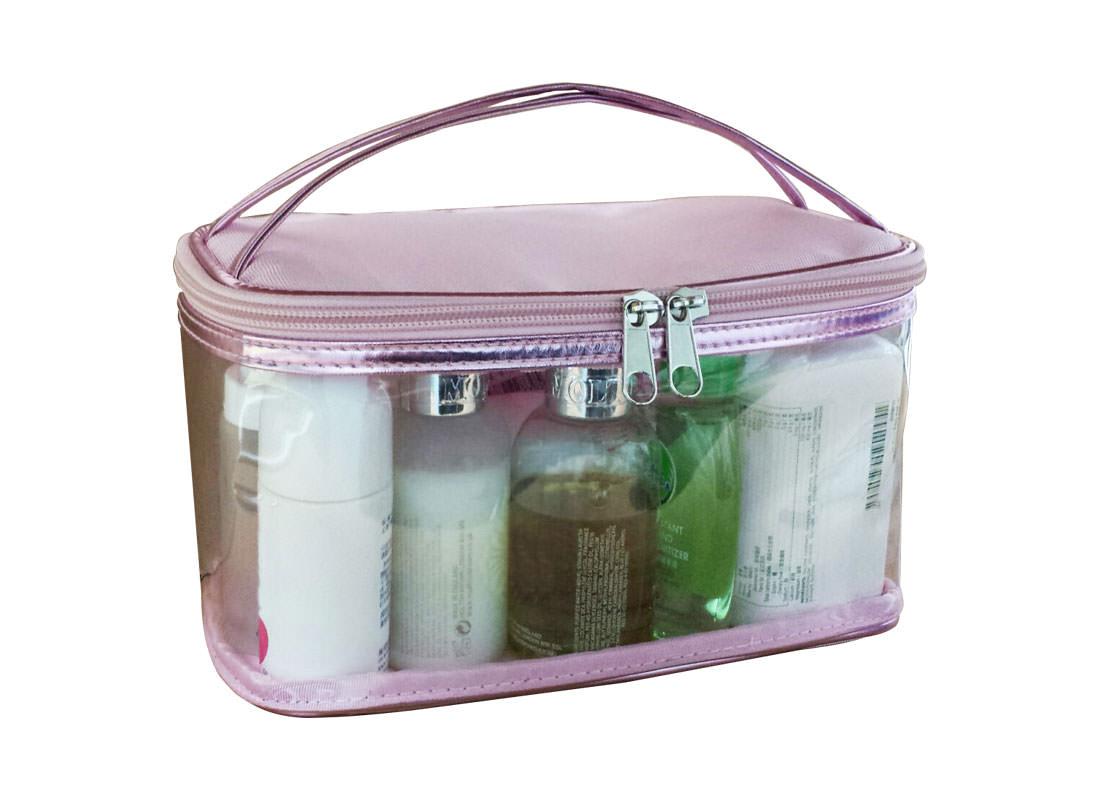 Transparent & Pink Cosmetic Bag