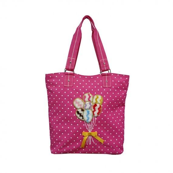 Dot Printing Canvas Tote Bag with Ballon Embroidery