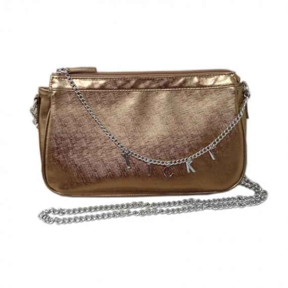 Small Metallic Handbag with Letter Charm