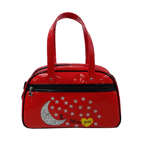 Red Boston Bag with Star & Moon Printing