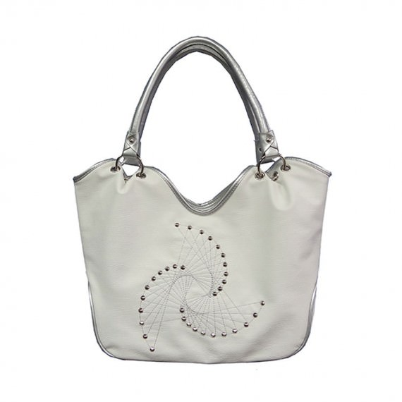 White Studded Tote Bag