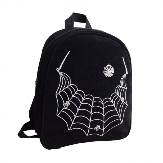 Backpack in Black Color with Spider Web Embroidery