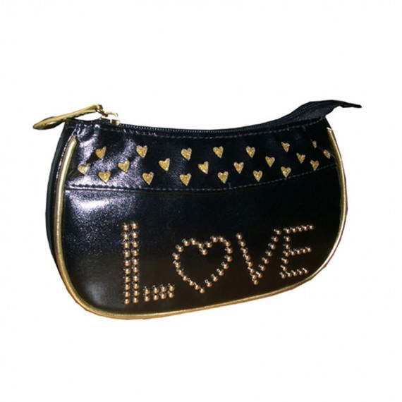 Black Small Pouch with Love Studs decoration at front