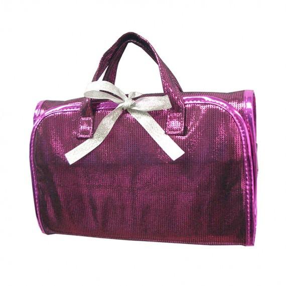 Shiny Pink Rollup Bag with Ribbon Closure