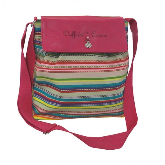 Soft Canvas Shoulder Bag with Striped Pattern