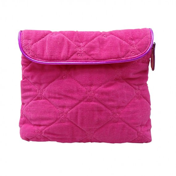 Square Pouch in Pink Color with Quilted