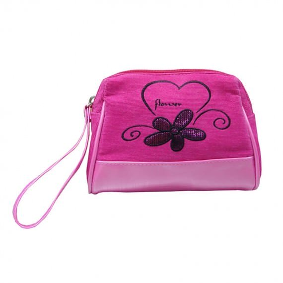 Small Beauty Bag in Pink Corduroy