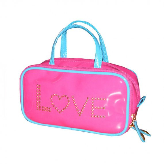"""Pink Beauty Bag with Letter """"Love"""" Studs decoration"""