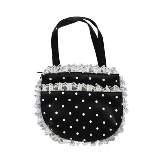 Small Carry Pouch with White Dots Printed