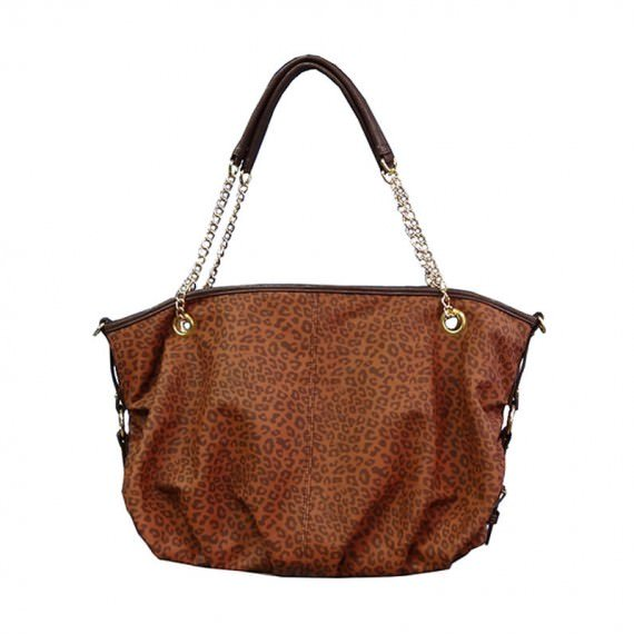 Leopard Handbag in Brown color