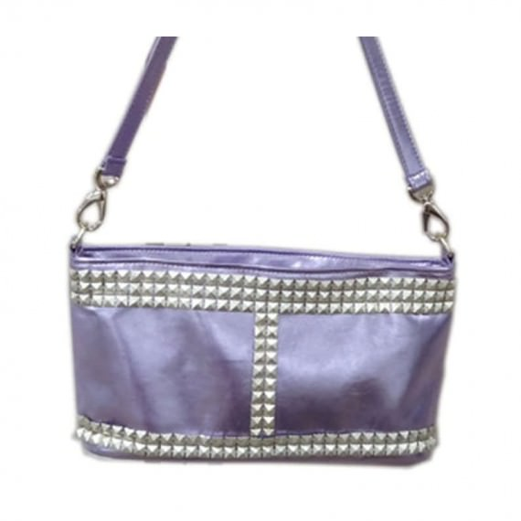 Studded Handbag in Shiny Purple