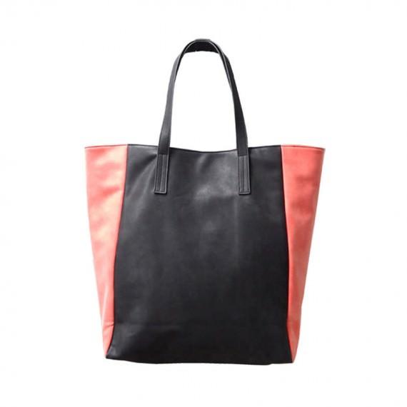 PU Leather Tote Bag Black & Salmon Pink Color