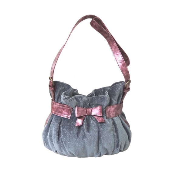 Cute Handbag in Grey with Pink Ribbon