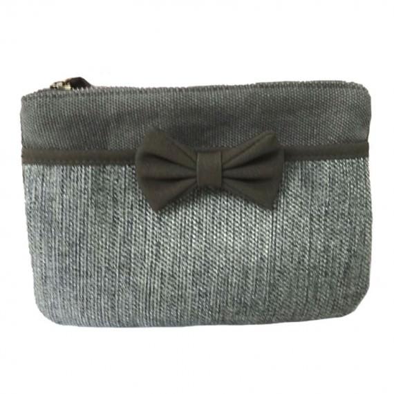Cotton Zipper Pouch in Grey