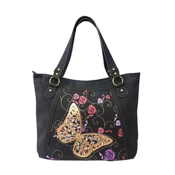 Butterfly Black Tote Handbag