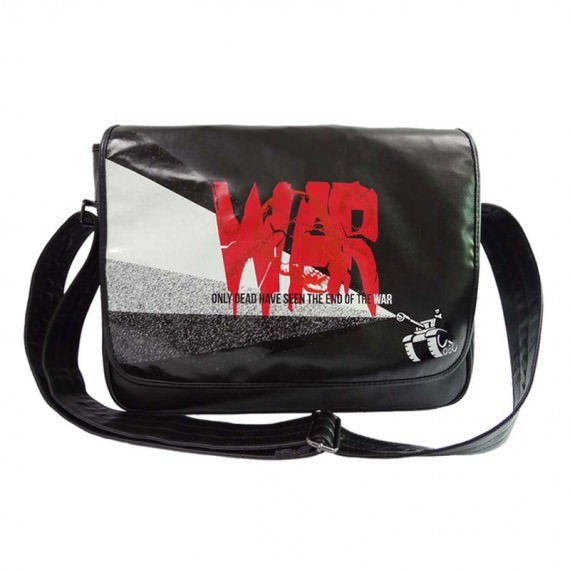 "Black Messenger bag with word ""war"" Printing"