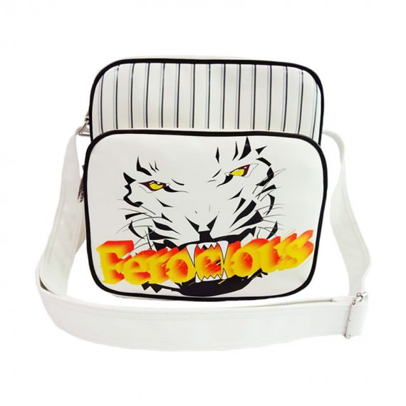 White Shoulder Bag with Tiger Printing