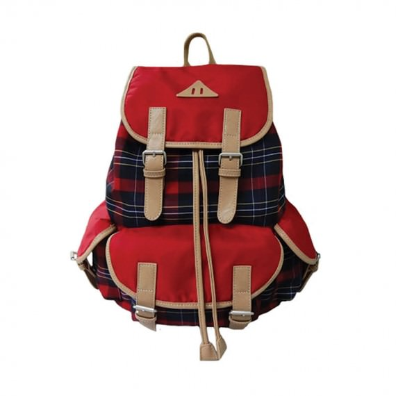 Red plaid Large backpack