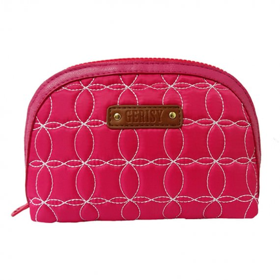 Quilted Zipper Pouch in Cherry Pink