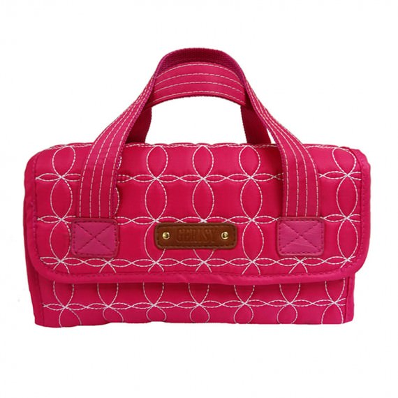Rollup Bag Cosmetic Bag in Quilted Cherry Pink