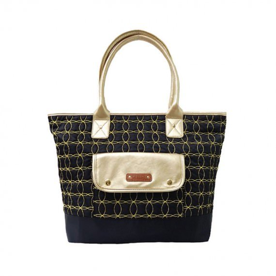 Quilted Tote in Black & gold sewing line