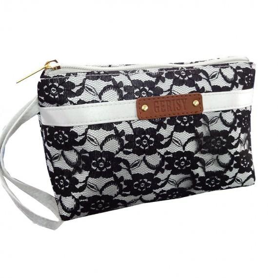 Black Lace Makeup Bag