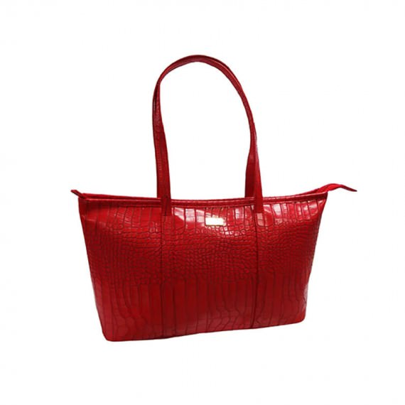 Faux Crocodile Handbag in Red Color
