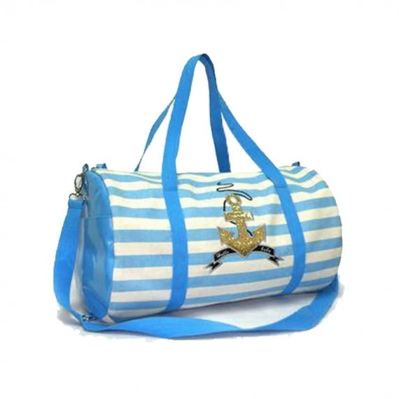 Striped Canvas Barrel Bag