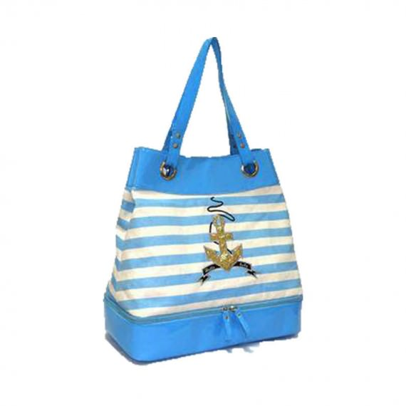 Striped Canvas Tote Bag with Shoe Compartment