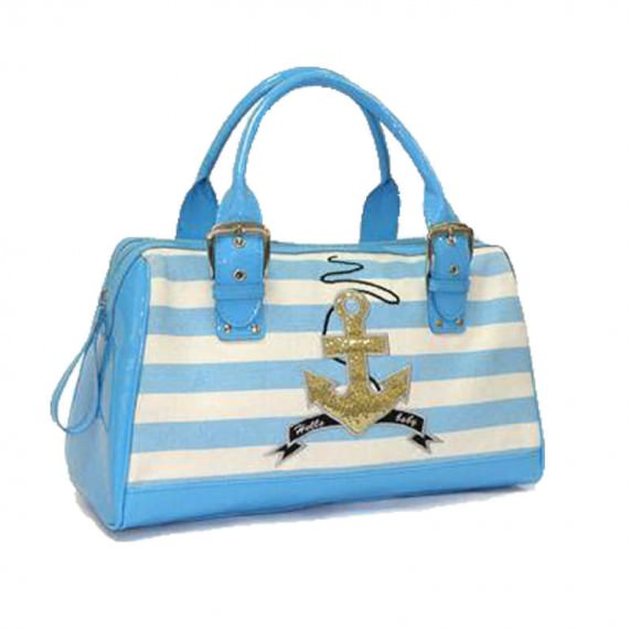 Striped Canvas Boston Bag
