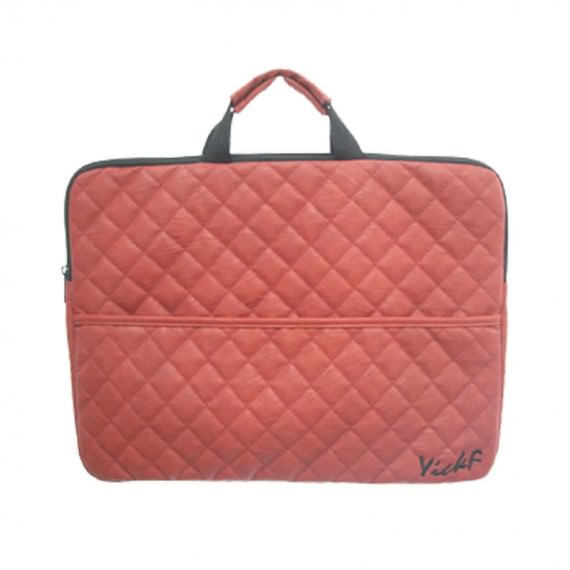 Quilted Laptop Bag in Coral Color