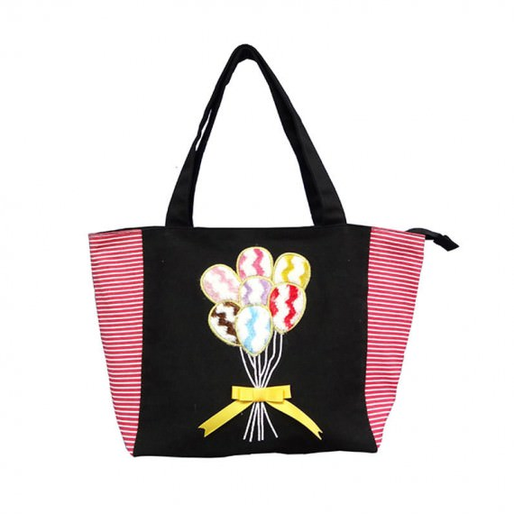 Plain & Striped Canvas Tote Bag with Balloon Embroidery
