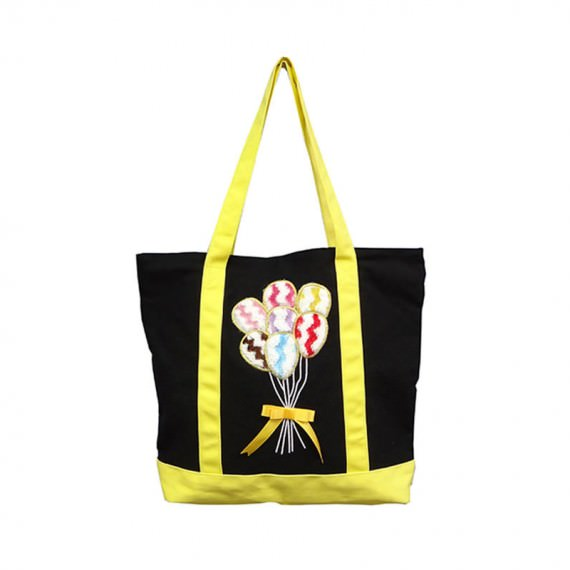 Canvas Tote Bag with Balloon Embroidery