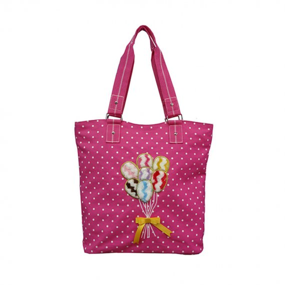 Dot Printing Canvas Tote Bag with Ballon Embroidery