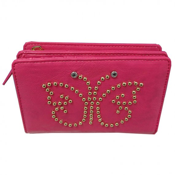 Cherry pink wallet with zipper coin pocket