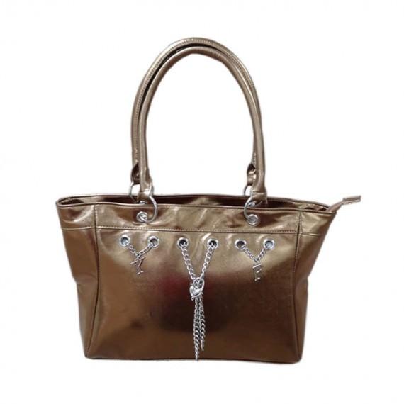 metallic bronze handbag with charm