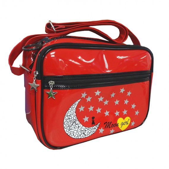 Red Messenger Bag with moon & star printing