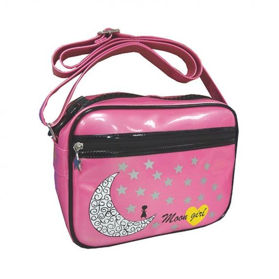 Pink Messenger Bag with Moon & Star Printing