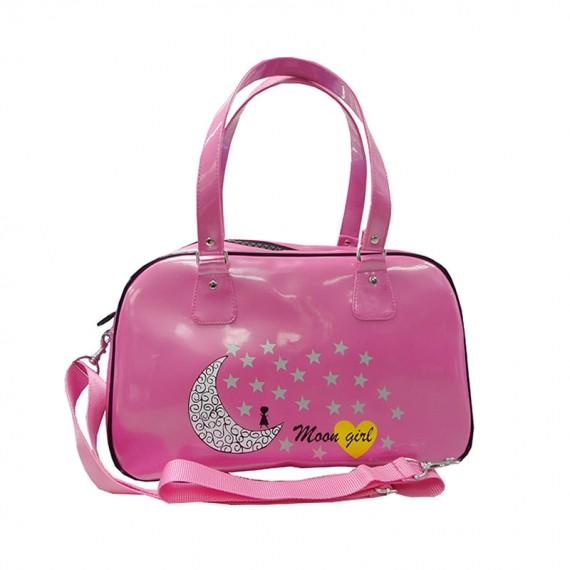 Pink Boston Bag with star & moon printing