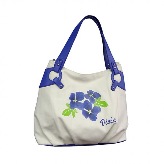 Canvas Handbag Tote with Flower Printing