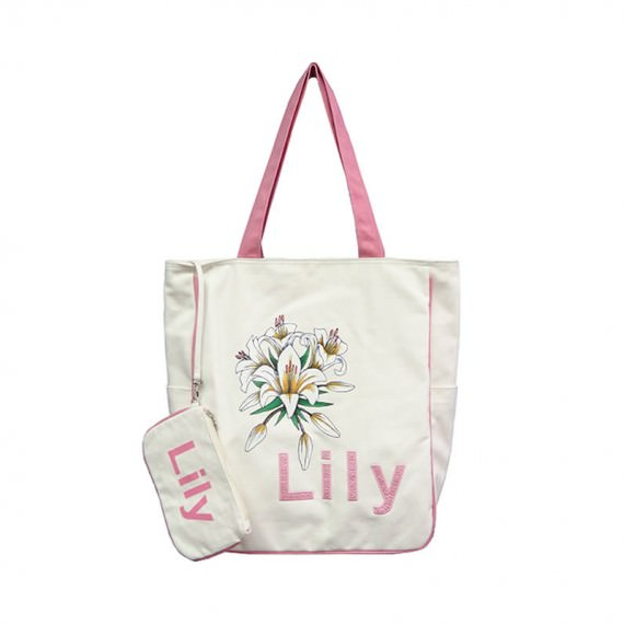 Casual Canvas Bag with Lily Printing