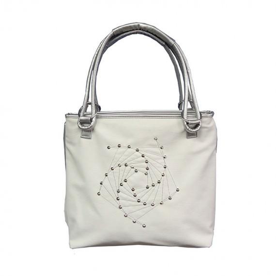 White Studded Handbag