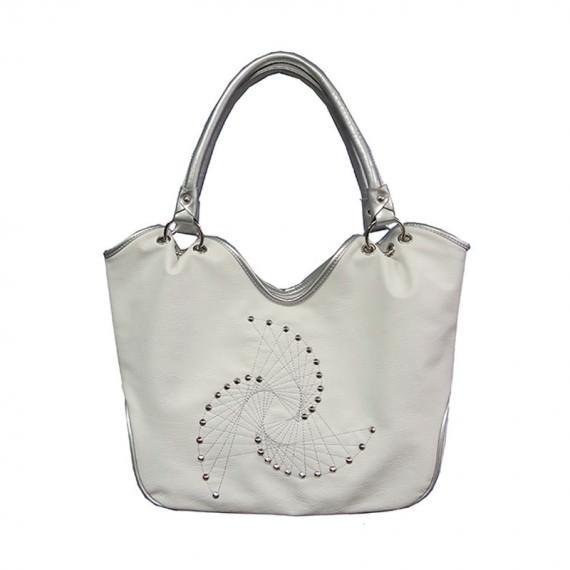 White Studded Tote Bag