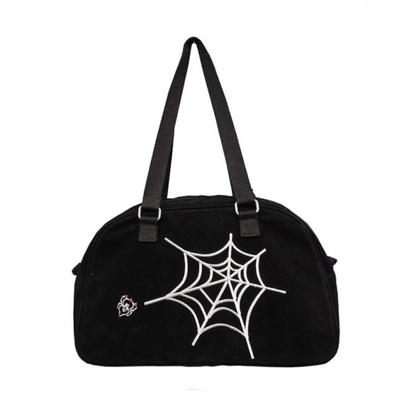 Black Boston Bag with Spider Web Embroidery