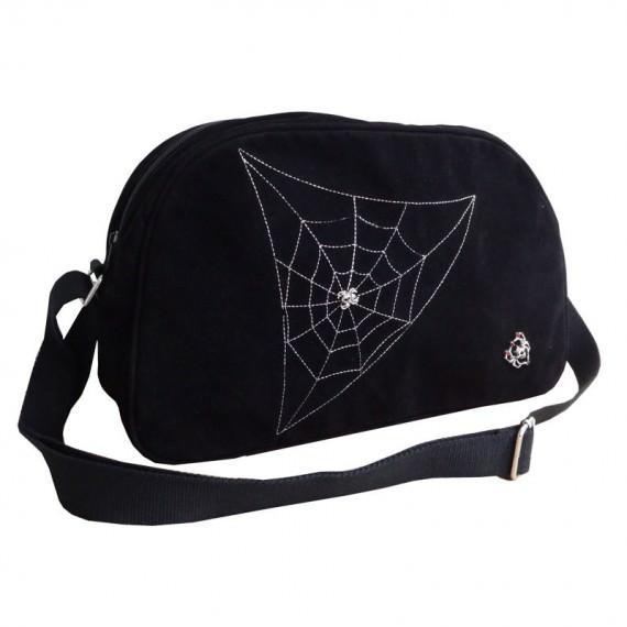 Black Shoulder Bag with Spider Web Print