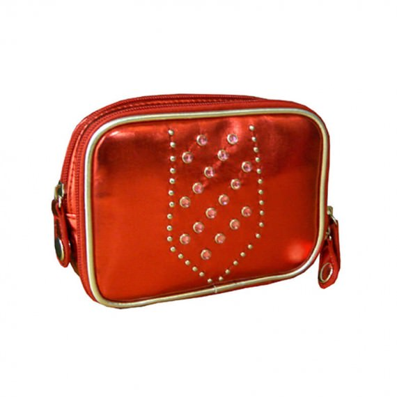 Metallic Red Cosmetic Bag